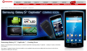 "Rogers Announces Samsung Galaxy S Captivate ""Coming Soon"""
