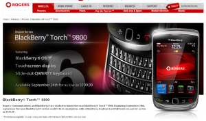 Blackberry Torch Announced on Rogers, Coming Soon on Telus and Missing on Bell? (UPDATE Found it!)