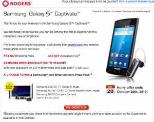 Samsung Galaxy S Now Available for Pre-Order Through Rogers!!
