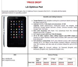 Rogers Drops LG OptimusPad Price